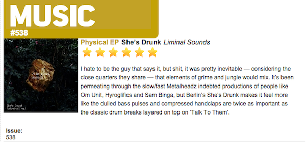 DJ Mag - She's Drunk - Physical - EP review