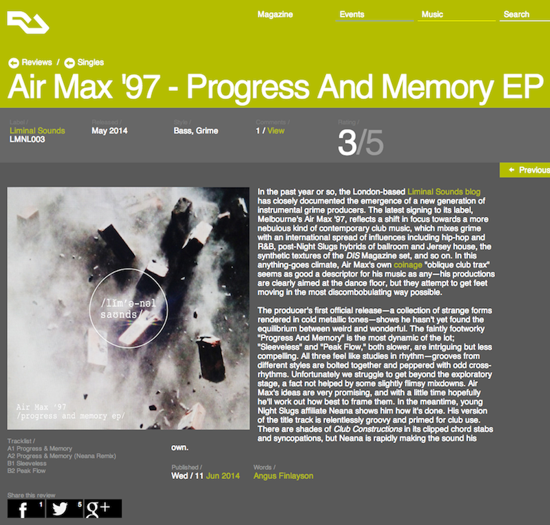 Resident Advisor - Air Max '97 - EP review