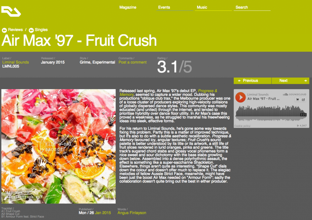 Resident Advisor - Air Max '97 'Fruit Crush' EP - Review