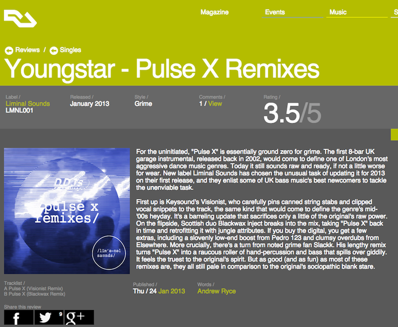 Resident Advisor - Youngstar - EP review