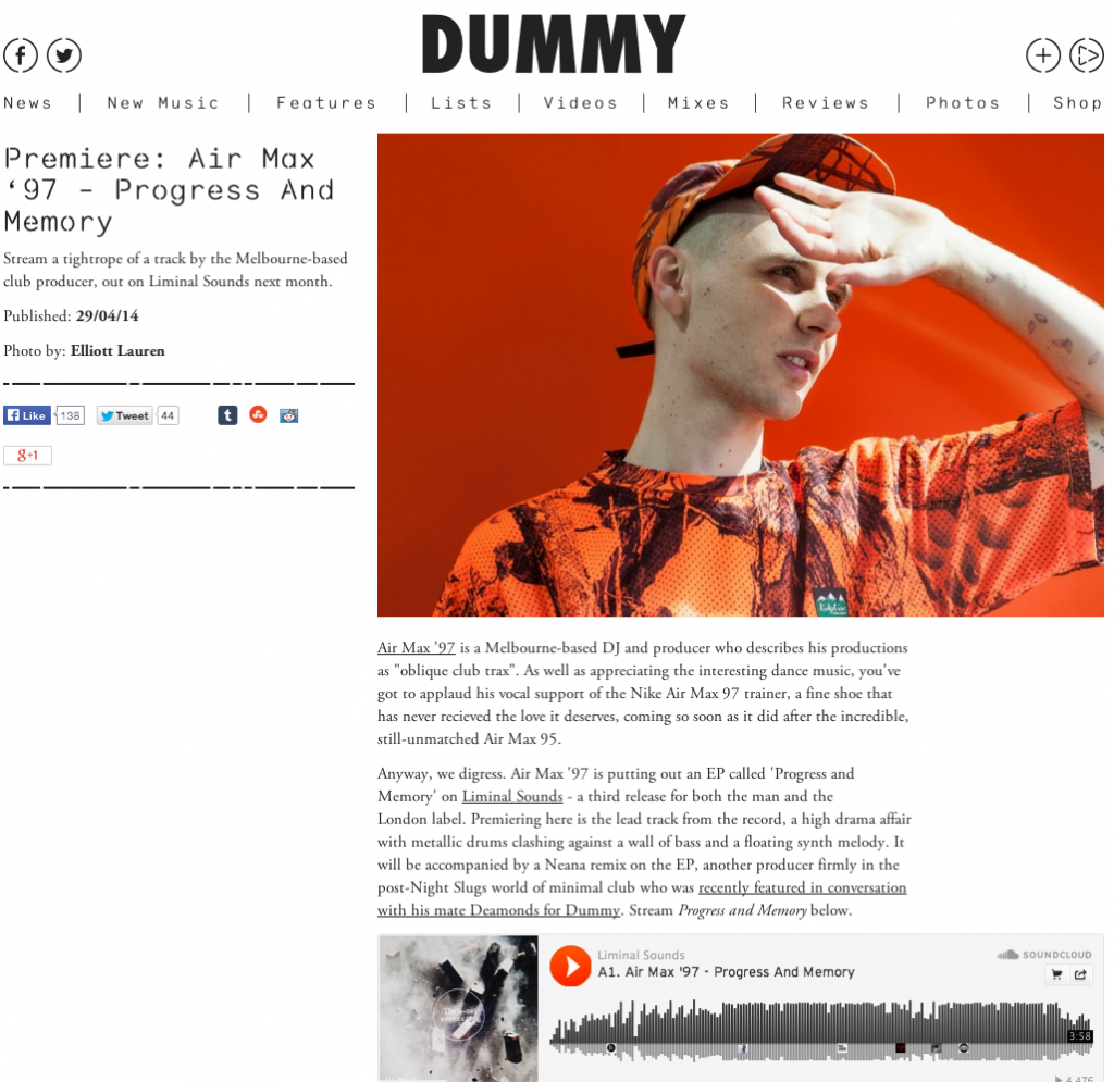 Dummy - 'Progress and Memory' premiere